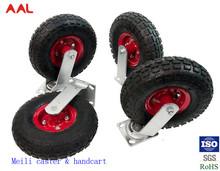 Factory Wholesale Heavy Duty Steel Corn Double Ball Bearing Solid Rubber Wheel