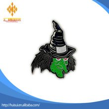 custom design metal greenface halloween witch lapel pin badge