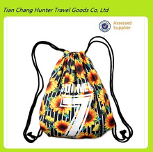 Cheap promotional sun flower full color imprint 190T polyester draw string bag for team promotion