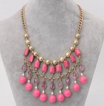 2014 New Designer Fancy Luxury Multi Layered Pink Acrylic Beads Transparent Water Drop Big Punk Matt Gold Ball Chain Necklace