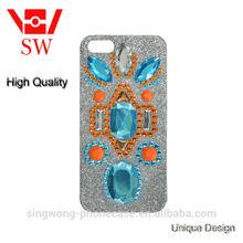 blue diamond coated inlay Glitter Glittery Sparkly Silver phone case