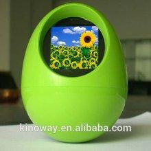 "Multi color egg shaped 1.5"" mini digital photo frame with clock"