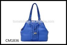 Royal blue color ladies hobo bag pleated tote bag