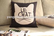 Le Chat Cat Vintage Retro Shabby Chic Linen Cotton Hemp pillow cover, Cat Vintage Retro pillow case