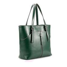 btg6236c green colour popular cow leather lady tote bag shoulder shopping bag