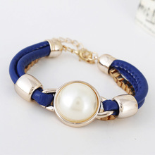 Artificial leather Fashion braided pearl bracelets