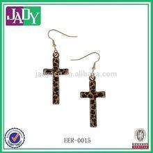 Black Leopard Cross Earrings