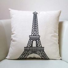 Promotional high quality unique design cotton linen match sofas Paris style cushion