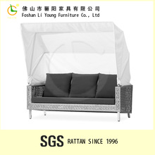 Outdoor rattan bench with canopy waterproof fabric abnd alu frame LG50X-C9081