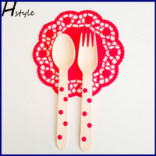 Wooden Dessert Forks With Polka Dots In Rainbow Colors - Eco-Friendly Small Wooden Appetizer Forks, Utensils SC013