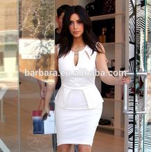 Casual white beautiful mature women bandage dress factory suply plus size