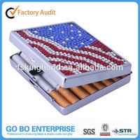 Manufacturer rhinestone bling cigarette case for gift