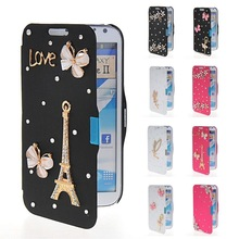 New Bling Leather Flip Wallet Back Case Cover For Samsung Galaxy Note2 N7100
