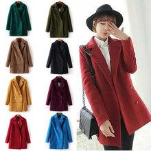 2014 New Japanese wild retro double-breasted wool coat suit collar woolen women winter warm long coat cheapwholesale