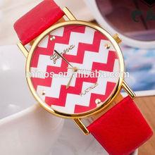 2014 Hot Design Flower Printed Pu Bracelet Ots Watch