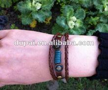 punk style braided 100 genuine cross leather bracelets 2012
