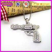 China market rhinestone metal toy gun pendant crystal necklace (13348)