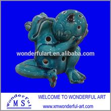 adorable stoneware garden frog candle holder