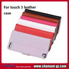 factory price leather flip case for ipod touch 5th many colors small moq