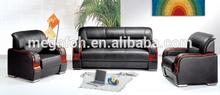Black genuine leather sofa set designs and prices(FOH-6670)