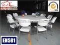 6 piedsil big white table ronde pliante en plastique pour une utilisation restaurant utilisent la location avec l'utilisation de mariage