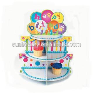 Carrinho do bolo de papel encantadores produtos acessórios aniversário