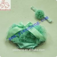 Frozen princess aqua Cotton baby girl bloomer set, lovely chiffon ruffle baby girl panty floral headband