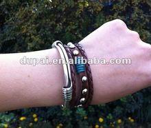 simple braided 100 genuine cheap leather bracelets 2012