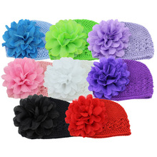 fashion hand crocheted beanie baby hat with flower