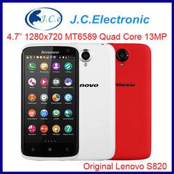 Original Lenovo S820 android phone MTK6589 Quad Core 1.2 GHz 4.7 inch IPS 1280x720 13.0MP Camera Dual Sim Bluetooth GPS