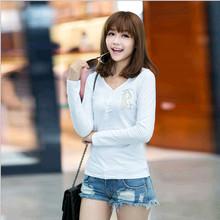 D84943H 2014 autumn korea new fashion v-neck embroidered women t-shirt