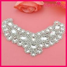 Silver crystal and rhinestone neckline bridal decorative applique WRA-526