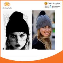 Women Girls Fashion Winter Warm Ski knit veil Mesh net Hats Beanie Cap