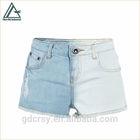 Women contrast blue washed color straight raw hem side distressed denim shorts hot pants