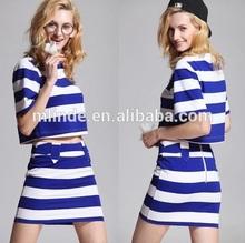 Branco azul navy stripe top camisa com um min saia outfit suit para as mulheres da moda