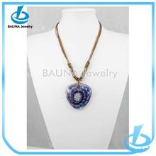 Heart murano pendant multi color glass bead necklace