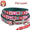 dog leash - stars hearts crowns butterflies flowers dog leash - small teal dog leash - dog collar with metal swivel snap hook