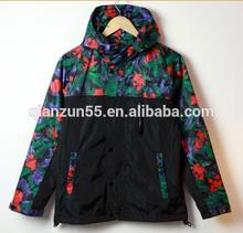 Camping Hiking Sport Wear Wind Jacket Cur and Sew Hiphop Outdoor Waterproof Floral Custom Sublimation Printed Windbreaker Coat