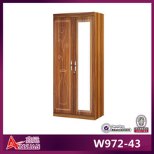 W972-43 indian style wardrobe cheap wooden wardrobe frosted glass door wardrobe cabinet