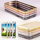 Luxury Fashion Diamond Crystal Rhinestone Bling Metal Alloy Frame Bumper Case Cover for Apple iPhone 5S 5