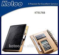 Wholesale popular leather A5 calculator agenda organizer notebook with calculator