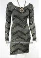 2014 estilo novo vendedor quente da mulher lantejoulas pretas bezerro- comprimento manga longa gola redonda vestido de noite