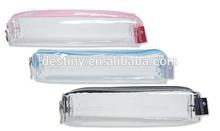 2015 wholesale school bag PVC clear plastic pencil case with zipper