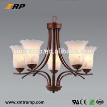 E14 European bronze metal desgin contemporary glass chandelier lighting