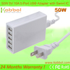 Kabbol 2014 Latest Best Quality 50W 5V 10A Family-sized USB Power Adaptor with Intelligent IC for Apple and Android Devices.