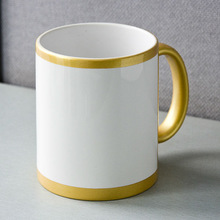 MEIKEDA 11OZ Gold color with white decal part blank sublimation coated Mug for Heat Transfer Print
