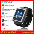 nueva llegada 3g bluetooth reloj teléfono androide con wifi y gps de la cámara