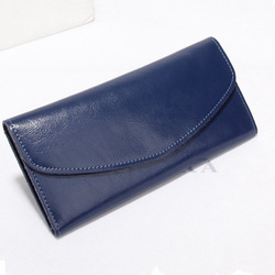 Simple Style Envelope Wallet Women Genuine Calfskin Leather Purse Made in China