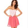 W7025 lace european chiffon skirt sweet girl graduation party back zipper evening dress