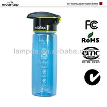 2014 tapa de plástico botella de agua del deporte con UV esterilización del fabricante de China